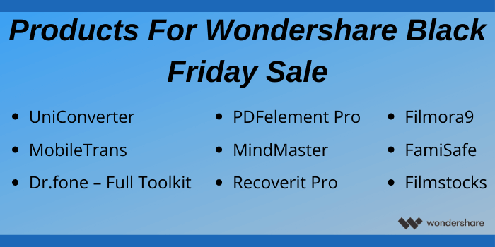 Products for Wondershare Black Friday Sale