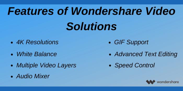 Wondershare Black Friday deals - Wondershare Video solution features